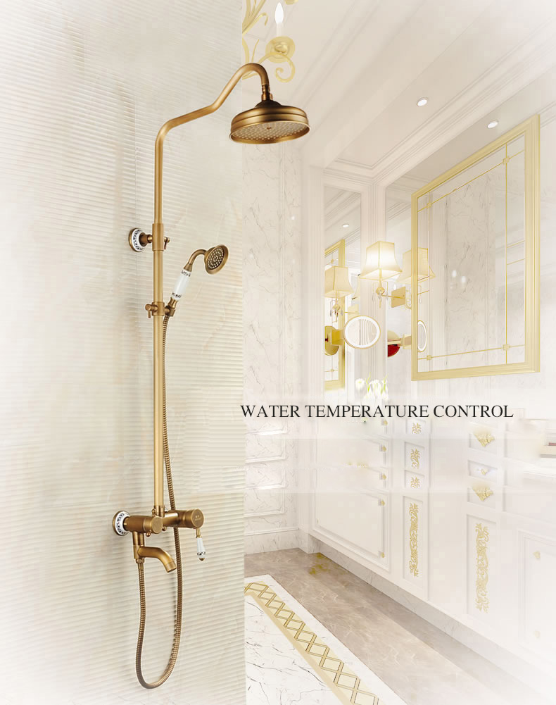 Antique Brushed Brass Faucets Wall Mounted Rain Lifting Shower Faucets Tub Shower Faucet with 8 inch Shower Head + Hand Shower
