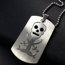 Stainless Steel Game Anime Skull Skeleton Necklace Pirate Logo Mens Double Layer Detachable Taro Necklac