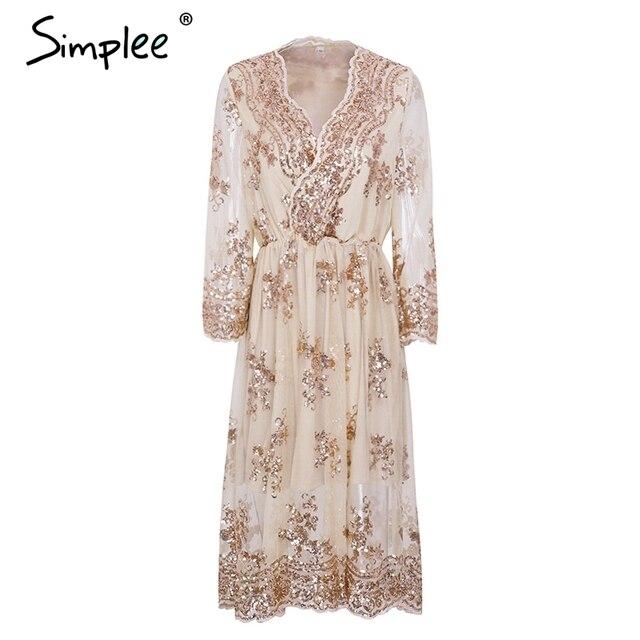 Simplee V neck long sleeve sequin party dresses women Sexy mesh streetwear  christmas midi dress female 2017 autumn dress vestido ddb9d4f98
