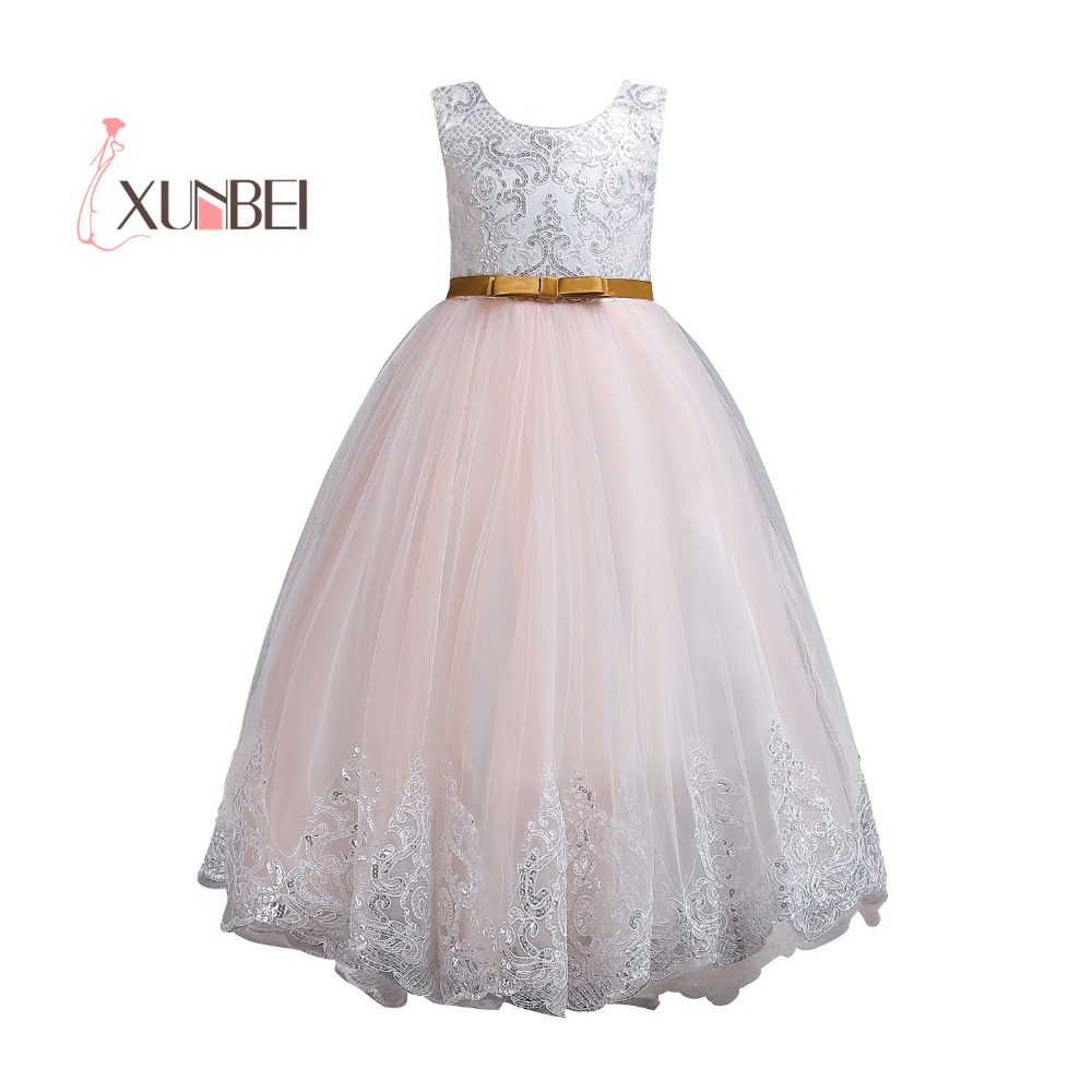 Princess Pink   Flower     Girl     Dresses   2018 Floor Length A Line Sequined Appliqued   Girls   Pageant   Dresses   First Communion   Dresses