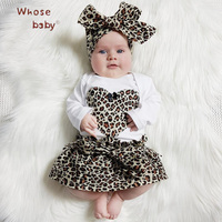 Baby Girl Clothes Sets Leopard Heart Shape Body Suit Bow Hairband Skirt 3Pcs Newborn Birthday Clothes