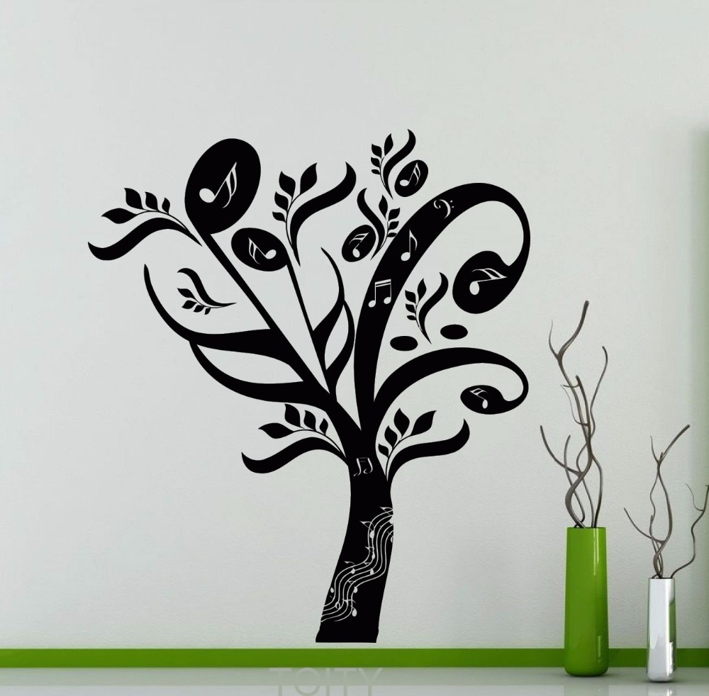 Music tree wall decal musical notes treble clef studio for Baby boy tupac mural