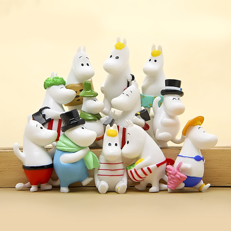 12pcs Moomin Valley Toy Set Snufkin Snorkmaiden Little My Sniff Action Figures Ornament Desk/Garden Home Decorations Doll