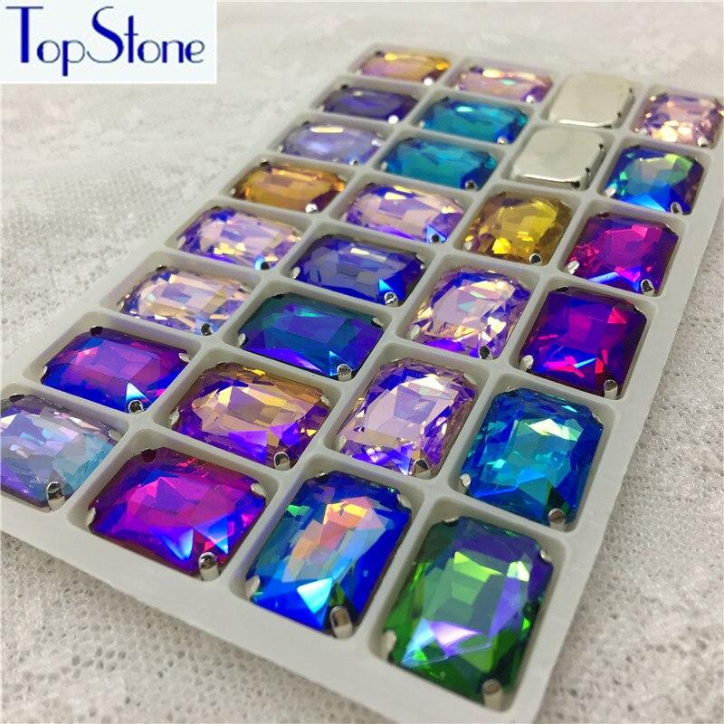Mix AB Цвет пришить горный хрусталь Прямоугольник Octagon Стекло камень в серебре Claw Установка 8×10,10×14,13×18,18X27 мм Пришивные кристаллы