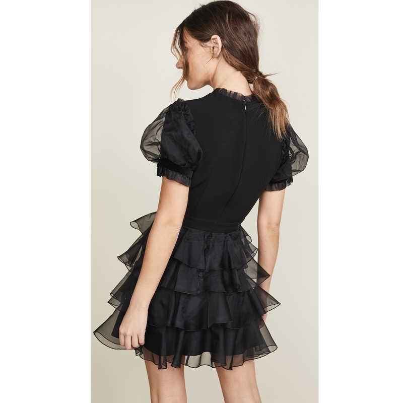 Черное платье из органзы с пайетками; женская одежда; повседневные платья с рюшами; воротник с коротким рукавом; Прозрачное платье; мини-платье; Лидер продаж