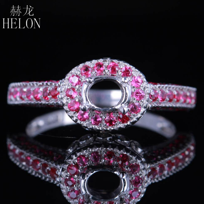 HELON 925 Sterling Silver 6x4mm Oval Cut 0.55ct 100% Real Natural Diamond & Genuine Rubies Semi Mount Wedding Fine Jewelry Ring helon sterling silver 925 flawless 11x9mm emerald cut 4 36ct real blue topaz natural diamond engagment wedding ring fine jewelry