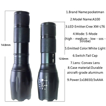 Pocketman HOT Lanterna XM-L T6 Tactical LED Flashlight Torch Zoom Linternas for 3xAAA or 18650 Rechargeable Battery z93