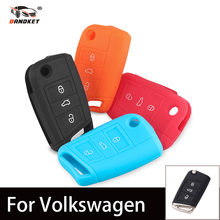 DANDKEY 10pcs/lot Wholesale 3 Buttons Silicone Car Case Key For VW Golf 7 Key Case Skoda Octavia Keychain Food Grade Key Cover(China)