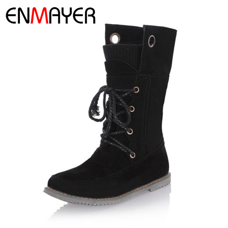 ENMAYER Big size 34 43 flats Boots Platform Shoes for Women Fashion Lace Up Motorcycle Boots