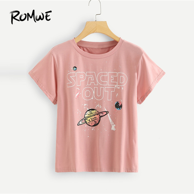 f7a2f922 ROMWE Galaxy Print Letter Tee Casual Pink Female T shirts Women Round Neck  Chic Tops 2019 New Design Summer Short Sleeve Tee