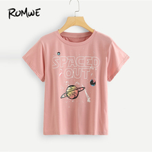 ROMWE Galaxy Print Letter Tee Casual Pink Female T shirts Women Round Neck Chic Tops 2019 New Design Summer Short Sleeve Tee