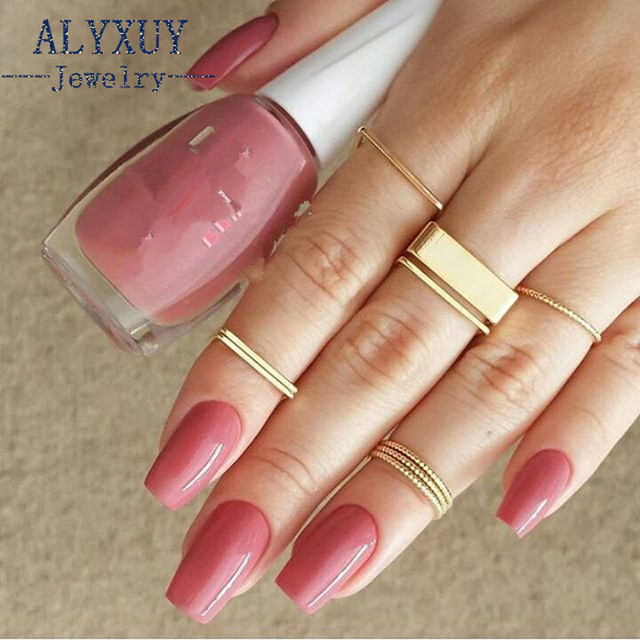 New fashion trendy jewelry Square finger ring set 1set=9pieces gift for women gi