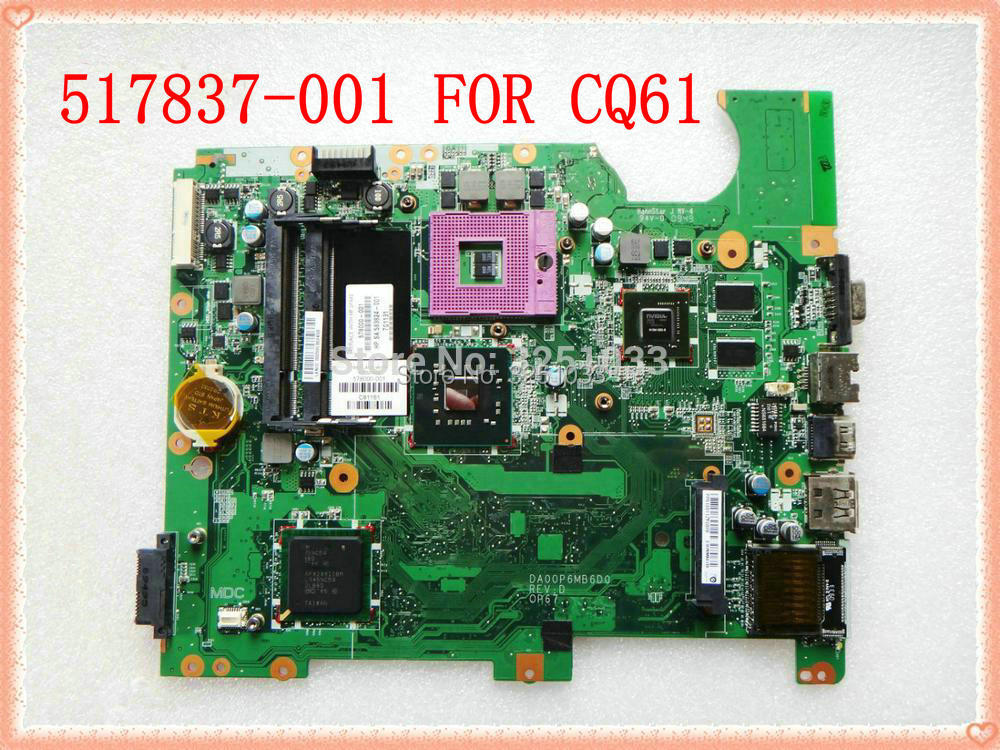 517837-001 for Compaq Presario CQ61 Notebook DAOOP6MB6D0 for HP Compaq presario CQ61 G61 Motherboard PM45 Chipset tested good 577997 001 motherboard for hp g61 compaq presario cq61 daoop6mb6d0