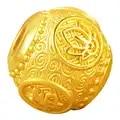 Новый 24 к желтый золотой браслет 3D 999 Золото Круглый Будда 12 мм бусины браслет