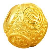 New 24K Yellow Gold Bracelet 3D 999 Gold Round Buddha 12mm Beads Bracelet