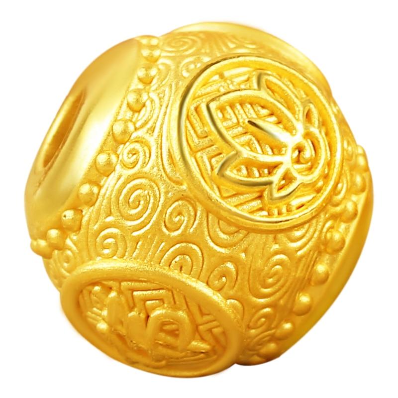 Nueva pulsera de oro amarillo de 24 K 3D 999 oro redondo Buda 12mm pulsera de cuentas