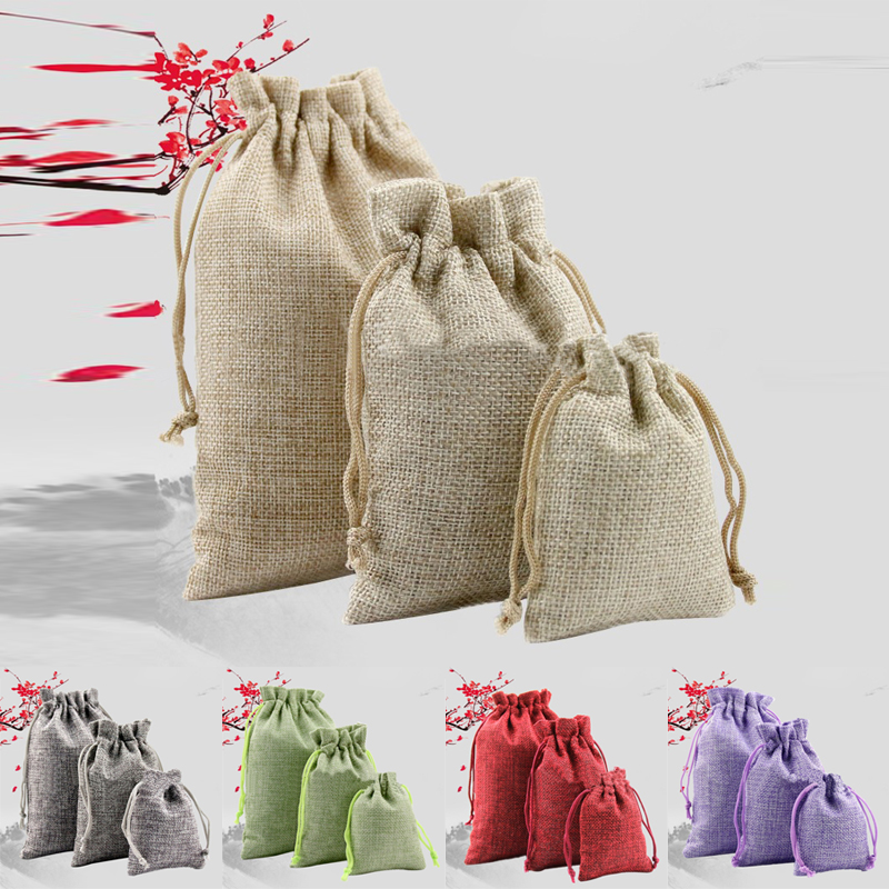 50pcs Vintage Drawstring Natural Burlap Gift Candy Bags Wedding Party Favor Pouch Birthday Supplies Drawstrings Jute Gift Bags