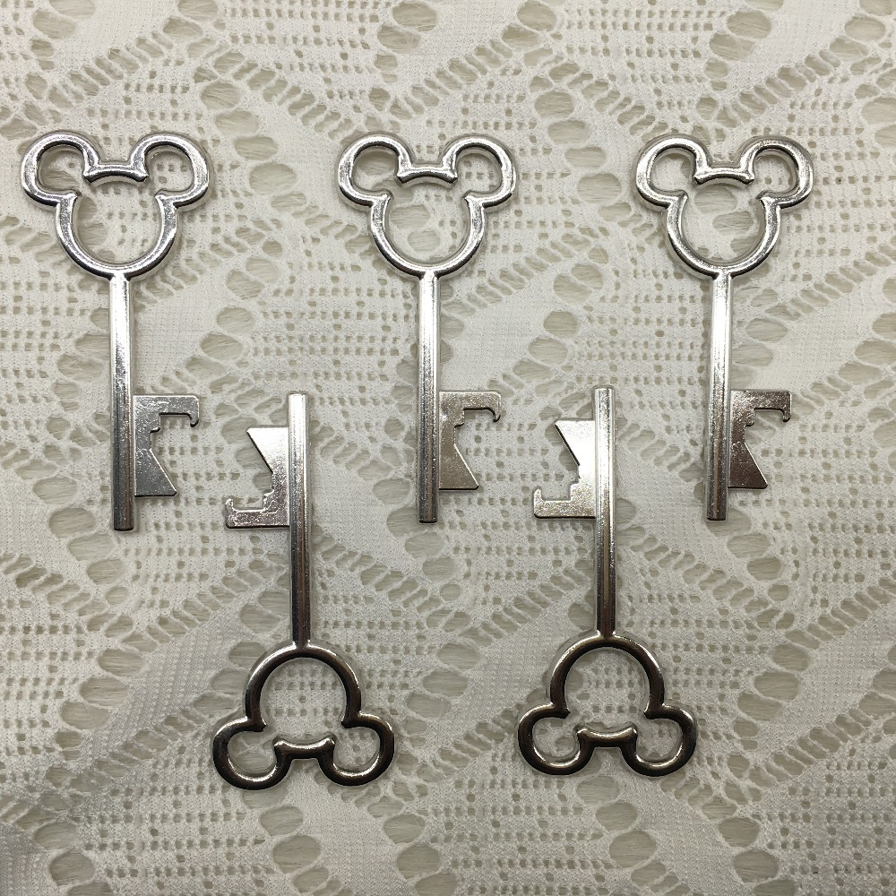 100pcslot june new design creative wedding favors party gifts silver mickey mouse skeleton - Key Bottle Opener