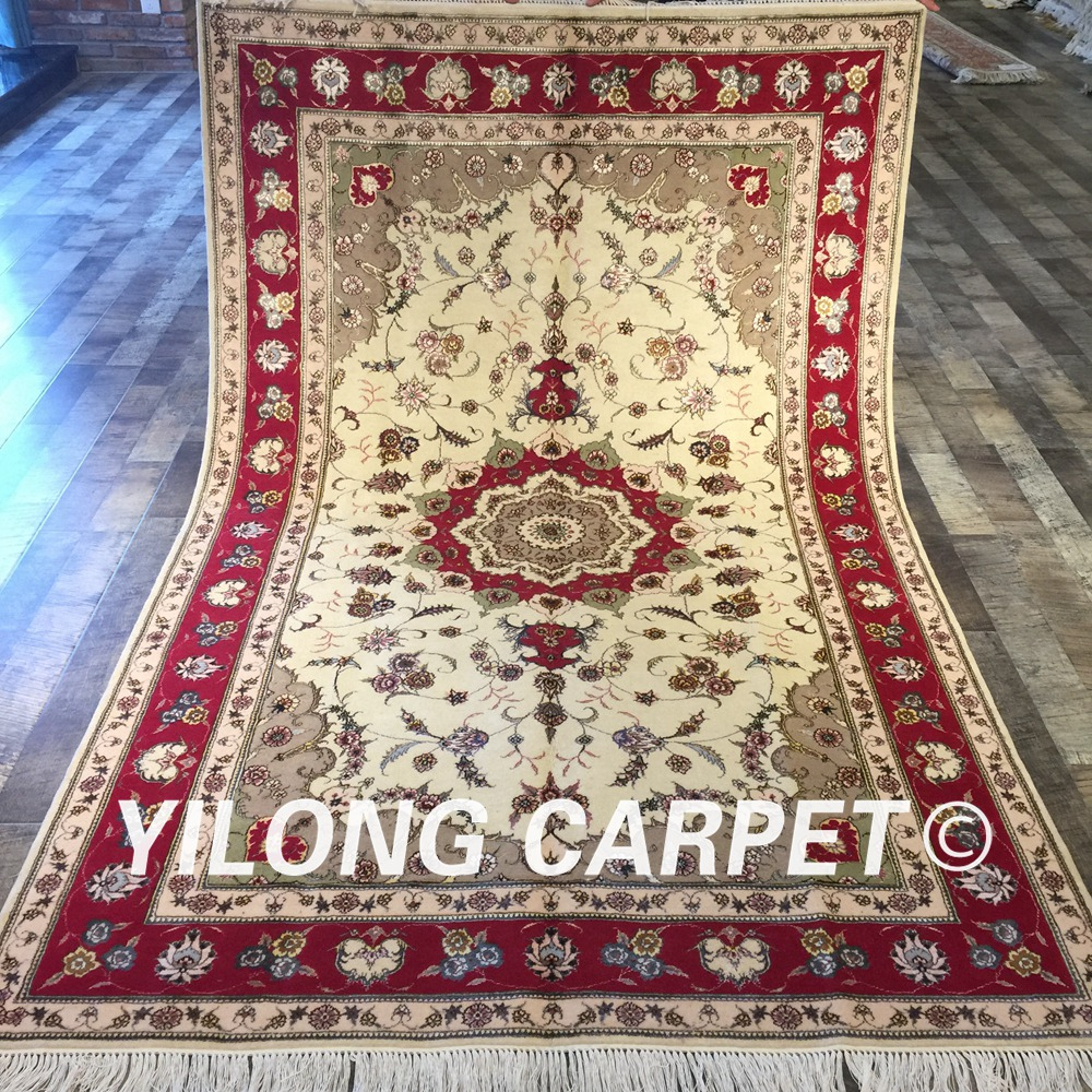 Shop Classical Kashan Medallion Hand Knotted Persian Wool: Yilong 5'x8' Hand Knotted Persian White Carpet Exquisite