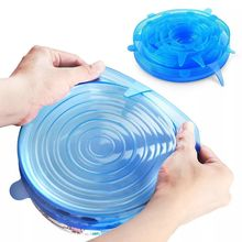 Tapas elásticas de silicona reutilizables, tapa universal de silicona para envolver alimentos, cuenco, olla, cocina, 6 uds.