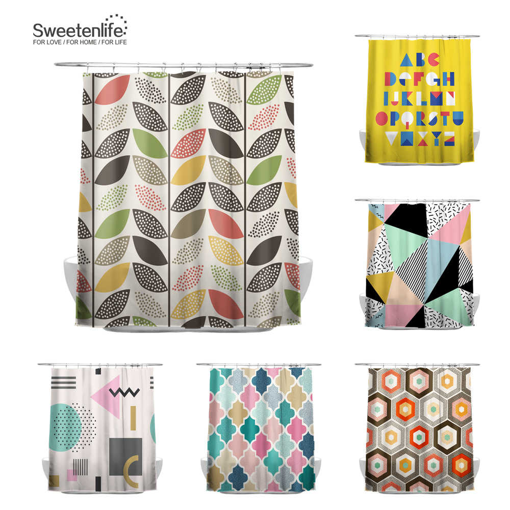 Sweetenlife 180x200cm Shower Curtains 100% Polyester Fabric Bathroom Curtain Multicolor Waterproof Curtain With 12 Hooks