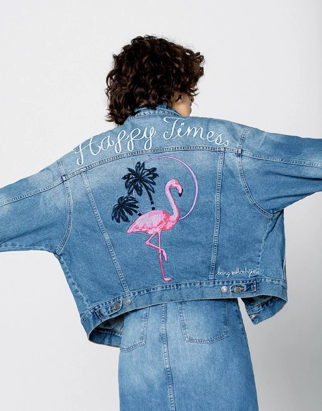 2017 New Fashion Women Autumn Winter Denim Jackets Lady Cotton Jeans Loose Clothes Flamingos Embroidery Coats