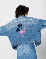 Women Denim Jacket Short Coat Big Size Cotton Streetwear Clothes Female Overcoat Plus Size Flamingos Embroidery