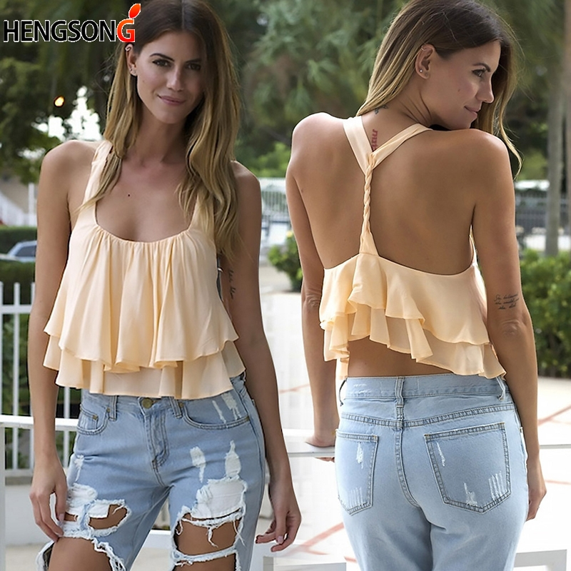 HENGSONG Chiffon Vest Crop Top Summer Ruffles Camis For Women Backless Cropped T Shirt Female Crop Tops 736870