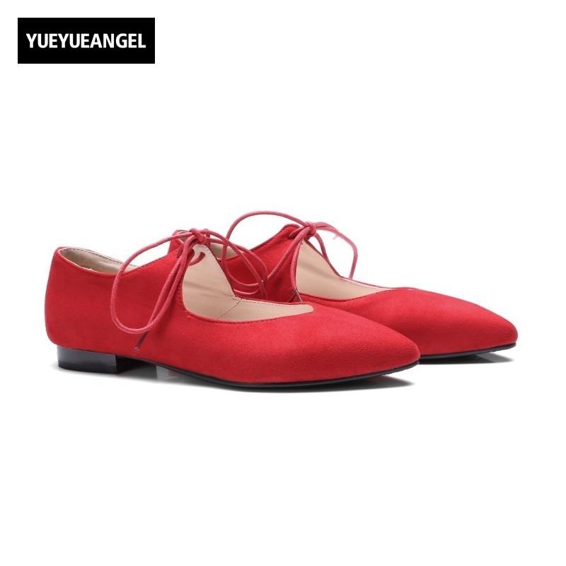 נשים אופנה חדשות דירות נעלי זמש פו טו תחרה עד מחודדות גברת נעלי שמלת לנשים סקסי Paty אדום ורוד שחור משלוח חינם