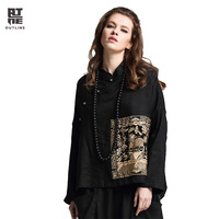 Outline Woman Spring Top Vintage Linen Loose Embroidery Patch Mandarin Collar Full Sleeve Top Casual Oversize Black Top L171Y005