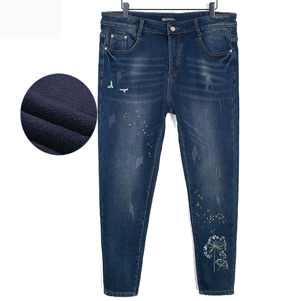 ФОТО Winter Warm Jeans Women High Waist Embroidery Blue Jeans For Girls Stret Warm Skinny jeans Large Size High Quality Denim Pants