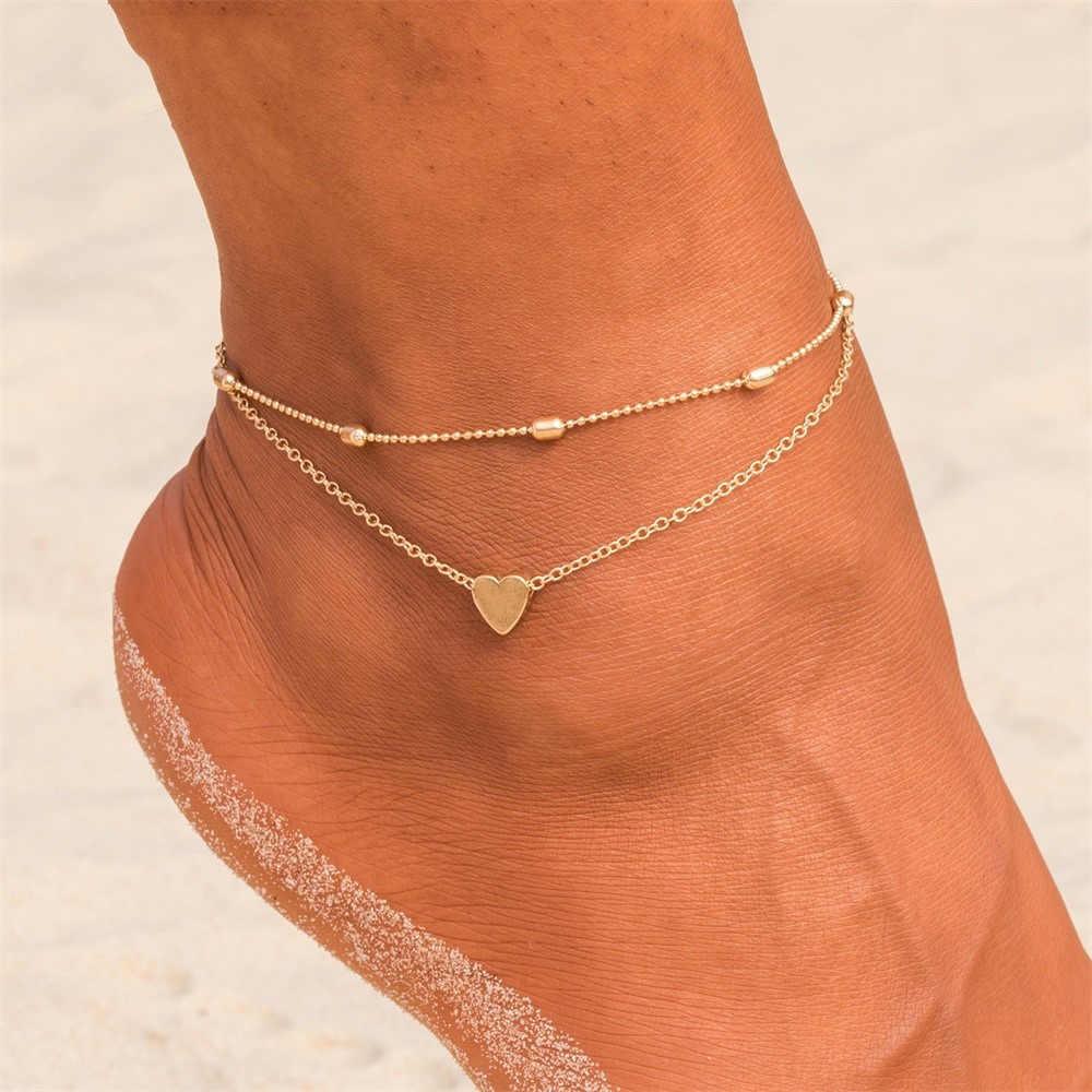 2019 ハート女性アンクレット素足かぎ針編みサンダルフットジュエリー脚新アンクレット足足首のブレスレット女性の脚チェーン