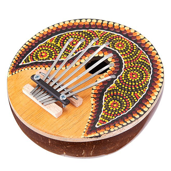 Kalimba 7 Key Finger Piano Painted Coconut Shell Mbira Likembe Thumb Piano Handmade