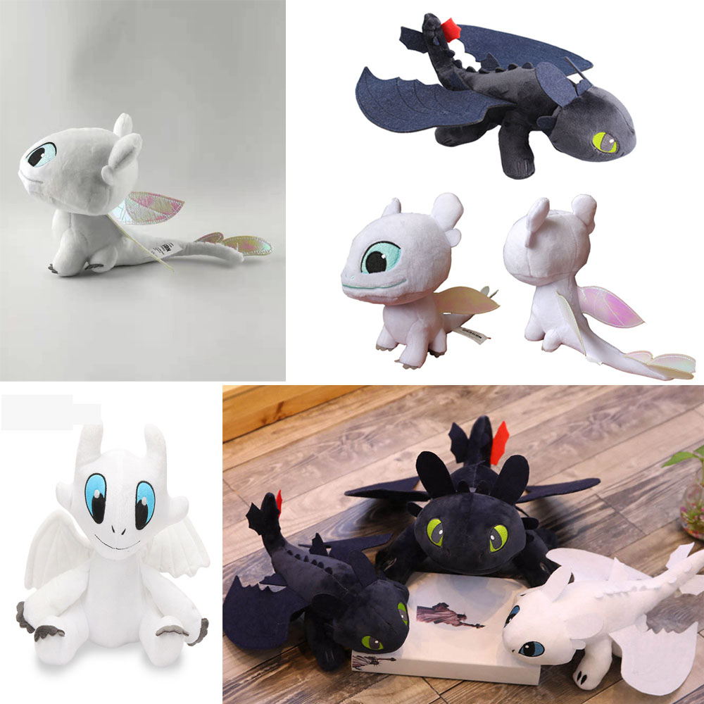 18-60cm How to Train Your Dragon 3 Plush Toy Night Fury Toothless Dragon White/Black Animal Stuffed Doll For Children Girls Gift stuffed toy