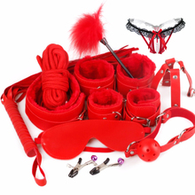 11 Pcs/ Set Erotic Toys For Adults Handcuffs ,Nipple Clamps ,Whip,Gag of Bdsm,Sex mask ,Pearl panties,Collar Bdsm Bondage Game
