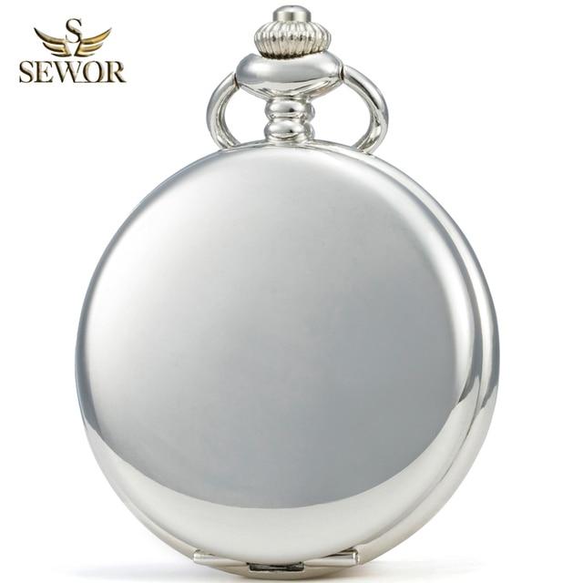 SEWOR Luxury Brand 2019 Fashion New Silver Classical Manual Mechanical Men Pocke