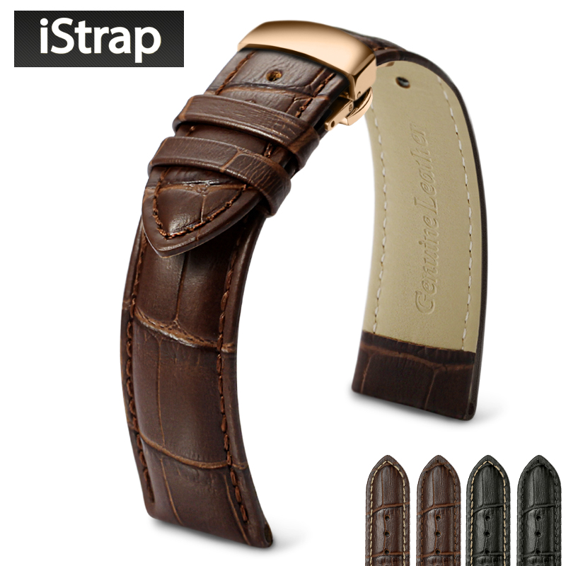 iStrap Watch Strap Genuine Leather Watch Band Rose Gold Butterfly Buckle for Hour for Victorinox Certina
