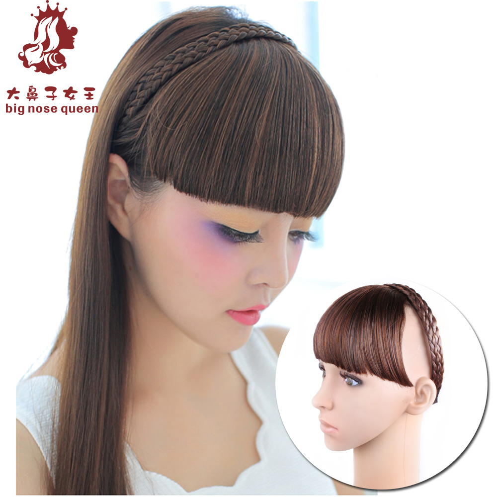 Hot New Women Fashion 4color Headband Braid Hair Bangs Wig
