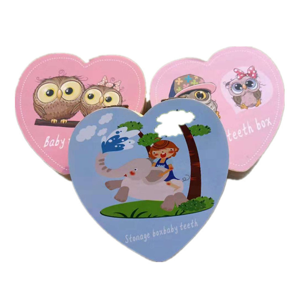 Impression 1/Pcs Baby Boys Girls Memory Teeth Box Hair SAVE BOX Lovely Wooden Handmade Cartoon Pattern Baby Teeth Save Storage Box Box Memorial A