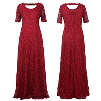 2016 9XL Big Size Women Flower Lace Long Dress Plus Size Floor Length Elegant Women Hollow