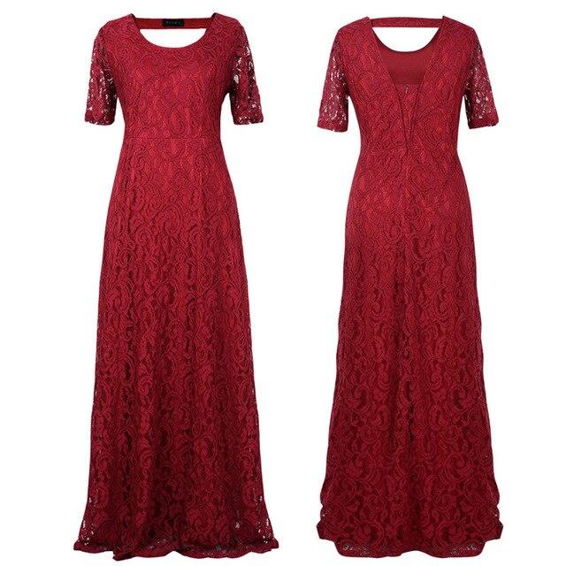 2017 Большие размеры женские цветок кружева длинное платье Большие размеры до пола элегантные женские открытые кружевные платья партия черный белый бордовый