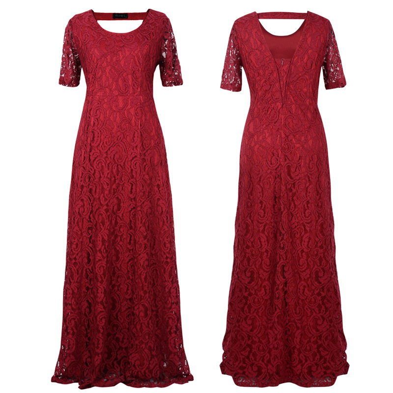 2018 big size women flower lace long dress plus size floor length elegant women hollow lace dresses party black white claret