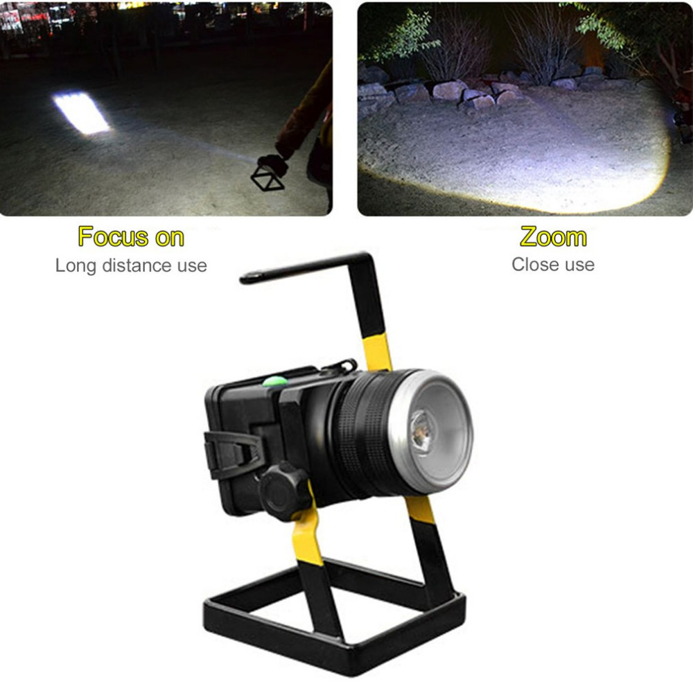 Portable Rotating Zoom T6LED Floodlight Lamp Outdoor Rechargeable Projection Lamp With Holder + Charging New 30W