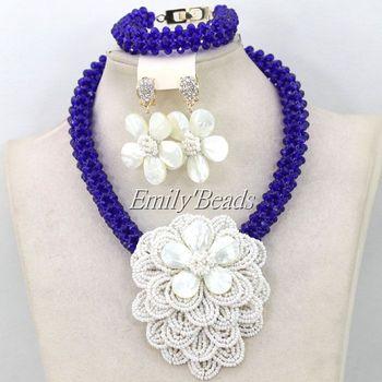 Beautiful African White Shell Flower Beads Jewelry Set Royal Blue Costume Indian Nigerian Wedding Bridal Necklace Set AIJ641