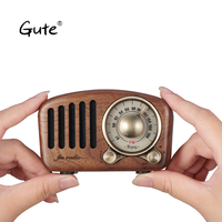 Gute 2019 Retro solid wood Mini Speaker Bluetooth 4.2 FM radio portable pocket receiver radyo aged Elderly portatil caixa de som