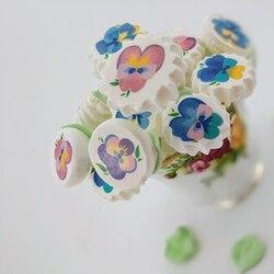 Mix piękny kwiat papier znaczek cukru na ciasto bezy dekoracji  arkusz transferu dostosowane drukowanie Sugarcraft dostaw kuchni