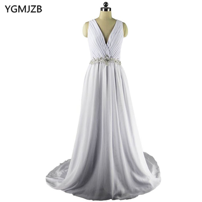 Elegant White Beach Boho Wedding Dresses 2018 Sexy Deep V Neck Beaded Backless Chiffon Bride Dress