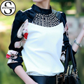 Сорочка Femme Корейской Моды Clothing С Длинным Рукавом Женщины Блузки 2017 Даймон Лето Топы Блузка Blusas Mujer Плюс Размер 3XL
