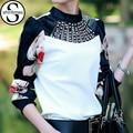 Chemise femme clothing camiseta de manga larga blusas de las mujeres de moda de corea 2017 diamon verano tops blusas blusa mujer plus tamaño 3xl