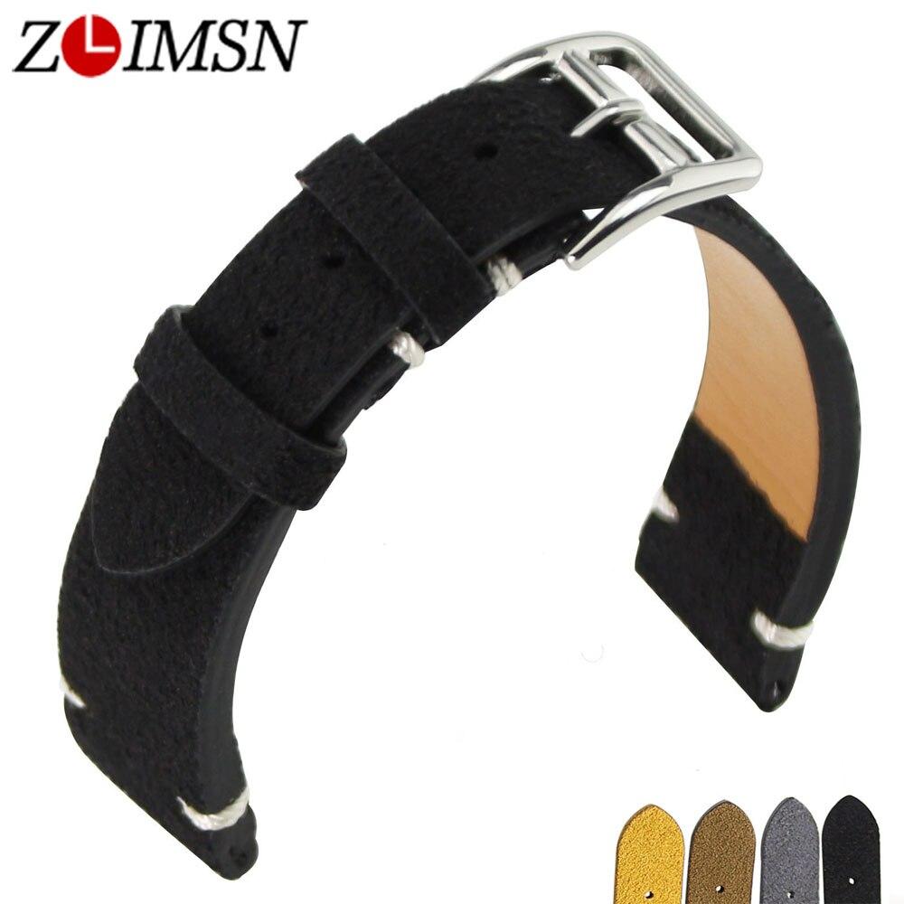ZLIMSN Leather Strap Watch Bracelet Men's and Women's Belt Replacement 20 mm Black Brown Strap Stainless Steel Pin Buckle все цены